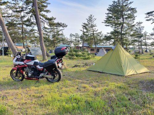 大島キャンプ場とバイク